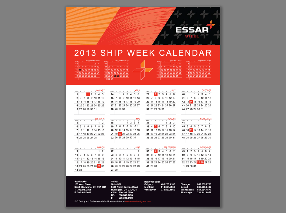 Essar 2013 Ship Week Calendar