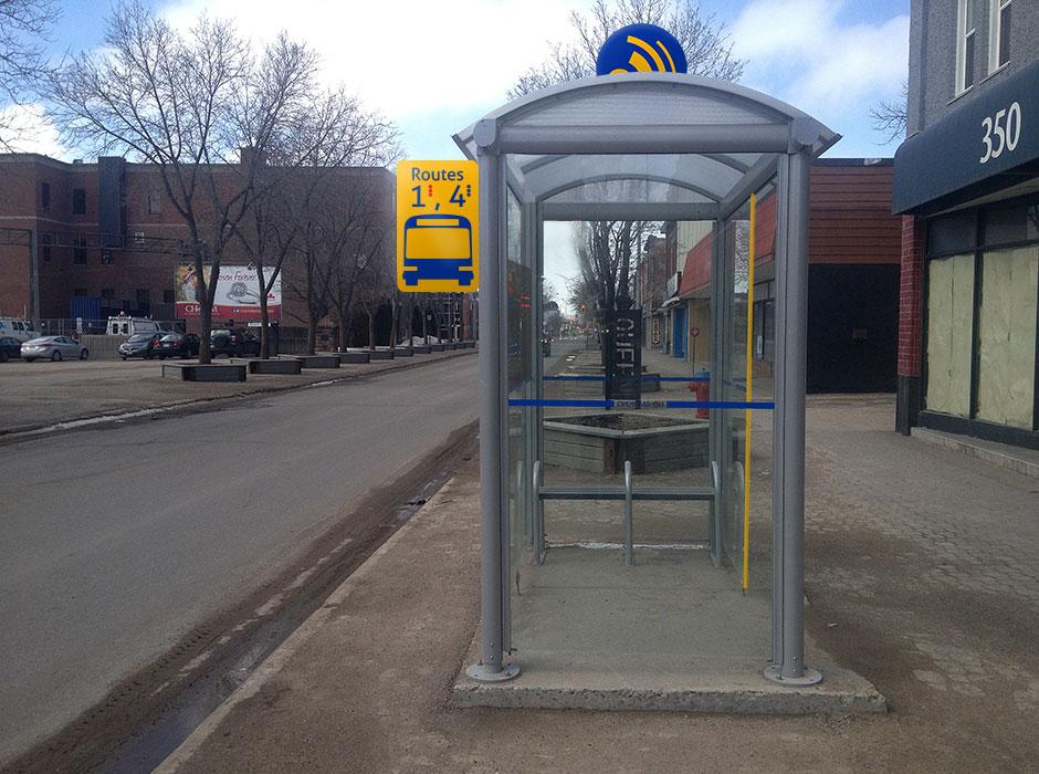 Sault Transit rebrand bus stop shelter