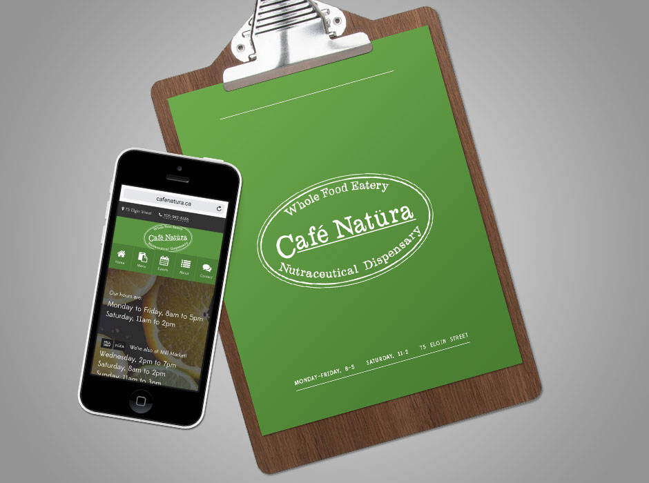Café Natüra menus, in print and accessible via the website.